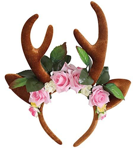KarnevalsTeufel REH Haarreif mit Blumen, REH Ohren und Geweih Haarschmuck Accessoire Rentier Hirsch Elch Weihnachten