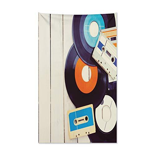 ABAKUHAUS Indie Wandteppich und Tagesdecke, Grammophon Records Audio aus Weiches Mikrofaser Stoff Kein Verblassen Klare Farben Waschbar, 140 x 230 cm, Orange Schwarz Blau
