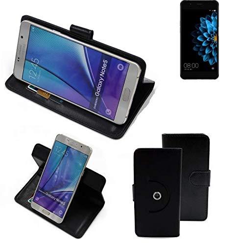 K-S-Trade® Case Schutz Hülle Für -Hisense A2- Handyhülle Flipcase Smartphone Cover Handy Schutz Tasche Bookstyle Walletcase Schwarz (1x)