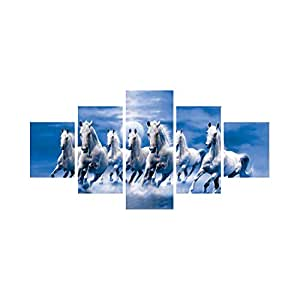 eCraftIndia 'Running Lucky Horses' Painting (Canvas Print, 127 cm x 60.96 cm, Blue and White, Set of 5, CPGKB59078)