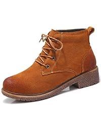 Botas de mujer botas botas de combate Bootie moda Otoño Invierno Casual gamuza marrón negra bajo 1a,Brown,US6 / UE36 / UK4 / CN36