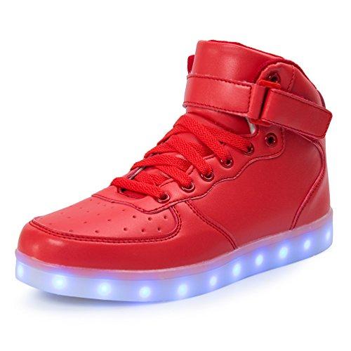 AFFINEST Hoch oben USB aufladen LED Schuhe blinken Fashion Sneakers für Kinder Jungen Mädchen Neujahr Weihnachtsgeschenke(EUR30, Rot)