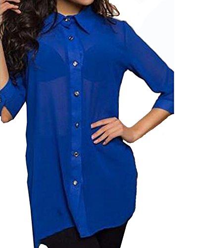 ZANZEA Damen 3/4 Arm Revers Chiffon Slim Transparent Oversize TShirt Bluse  Hemd Tops Blau