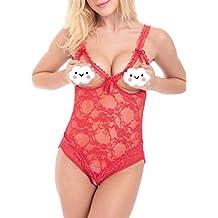 Sexy Lingerie Crotchless Bodysuit For Women Cupless Erotic Underwear Ladies Nightwear Sleepwear