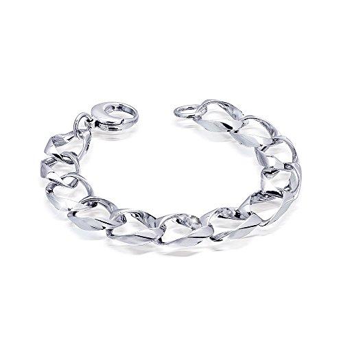 MATERIA Herren Armband 925 Silber Panzerkette 14mm rhodiniert massiv 6-fach diamantiert 38,4g #SA-60, Länge:21 cm