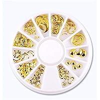 Decoración coloré Nail Art perla cristal brillantes resina Déco Glitter Case (Golden) para Nail Decal