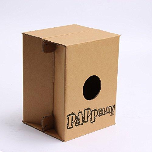 Cajon di cartone. Strumento acustico de percussione il produttore PappCajon. Leggero e pieghevole per principianti e avanzati. 46x36x36cm su 150 Kg de carico. Imparare il ritmo con due mani