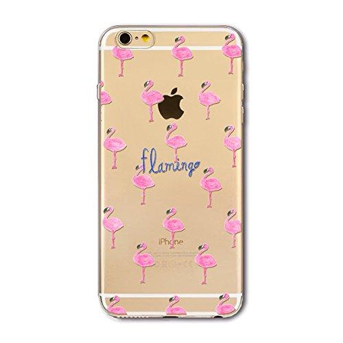 Coque Iphone 6 et 6S en Gel silicone souple transparent , flamant rose , Flamingo Flamant multi flamingo