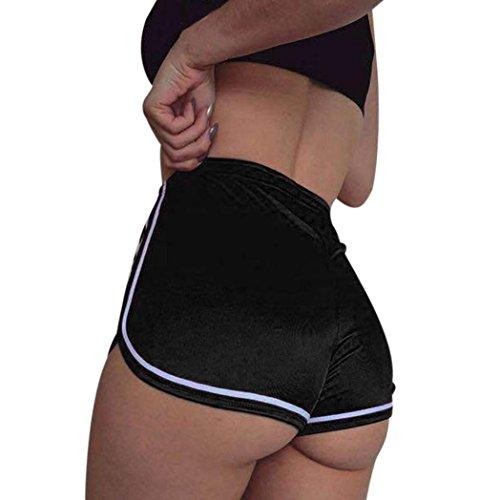 Pantalones cortos mujer sexy , ❤️ Amlaiworld Mujer Leggins Pantalones cortos casuales de verano Pantalones cortos deportivos de cintura alta Pantalón de playa (Negro, S)