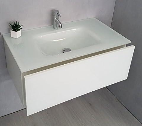 Plan Vasque Verre - Meuble selle de bain avec Plan vasque