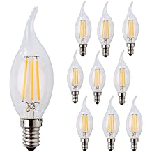wulun 4W LED vela Filament bombilla, E14rosca Edison lámparas tipo vela, llama forma, blanco cálido 2700K 400lm, 40W equivalente incandescente de repuesto, pack de 10
