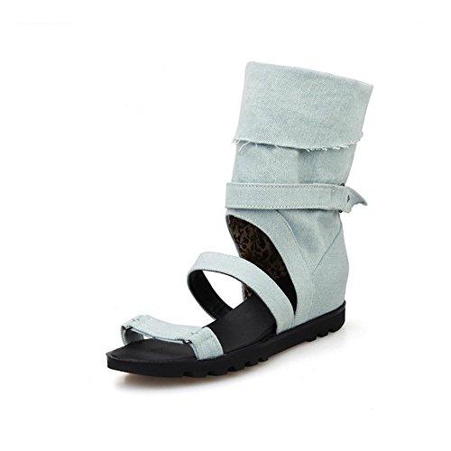 balamasa pour femme open-toe à enfiler tissu Sandales bleu clair
