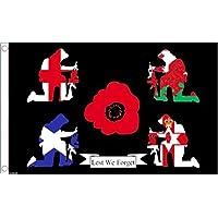 Guerra Mondiale I Centenario Gran Bretagna Si Ricorda 5'x3' Bandiera