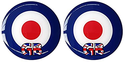 Moped Scooter Sticker Decal Round Badge Mod Target GB Union Jack Resin Gel 3D Domed Badge 48mm - 2