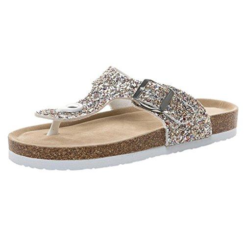 Tongs DéContracté Peep Toes Sandales à Enfiler Été Chaussures Plates De  Plage Mules MéTalliséE Similicuir Flats 89815190bb82