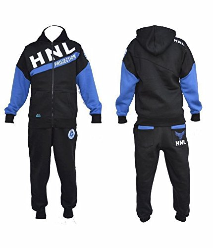 290gsm-mens-fleece-hnl-jogging-suit-hooded-tracksuit-quality-trousers-pants-tops-x-large-style-3-bla