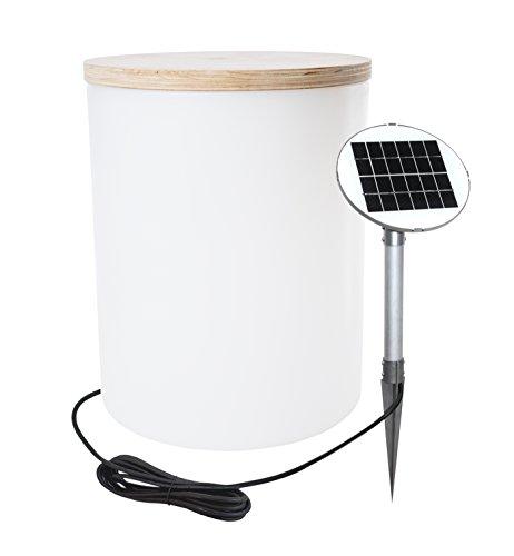 8 seasons design | Solar LED Zylinder Ablagetisch Gartenhocker Blumentopf Shining Drum (45cm, Ø 37 cm, Solarpanel, warmweiss, Lichtsensor, 10l, bepflanzbare Gartendeko) weiß