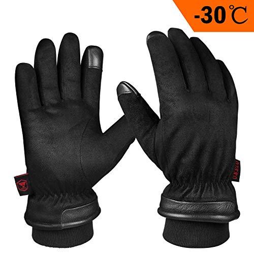 OZERO Winterhandschuhe,Wasserdicht Thermo Lederhandschuhe mit Touchscreen-Fingerspitzen für Ski,Radfahren,Lauf und Arbeit,für Herren