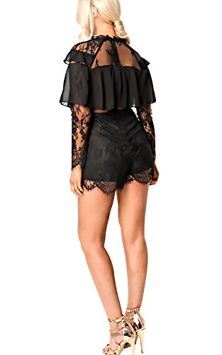 Women's Ladies Lace Frill Playsuit Black