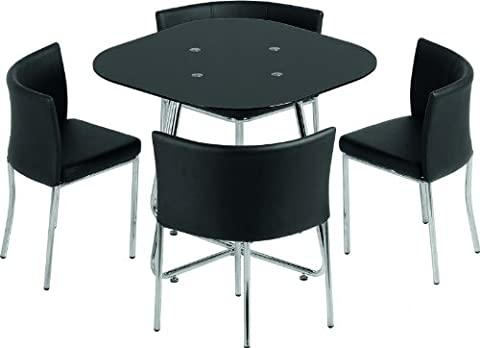 Washington Stowaway Dining Set in Black Glass/Chrome/Black Faux