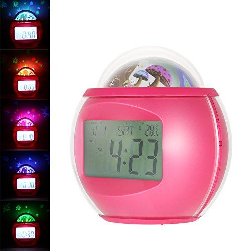 Anself Despertador Proyector de Estrellas Reloj Snooze Digital con Música Luz de Noche Calendario Termómetro Temporizador