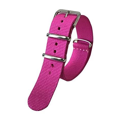 20 mm sangles de luxe de montre de style NATO nylon robuste durable haut de gamme rose bandes pour les femmes Remplacements
