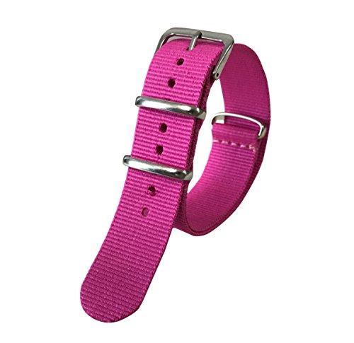 18mm rosa Luxus exquisite Frauen einteilige NATO-Stil exotischen Nylon Perlon Uhrenarmband Ersatz (Stück Tuch Ein Stil)