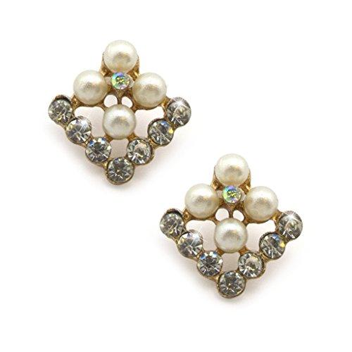 Eleganti Cristalli Piazza Diamante e Perle Effetto Spilla Pin in un ambiente colorato d'oro - aggiunge un tocco di stile alla vostra attrezzatura - Confezione da 2