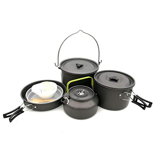 Non Stick Cook Kit (Camping Cookware Kit Non Stick Camping Pans Formany Peopleindividual People Portable Cook Set for Camping Hiking BBQ Picnic Outdoor Included Pan Pots Plates Stainless Steel Cooking Tool Titanium Pot)