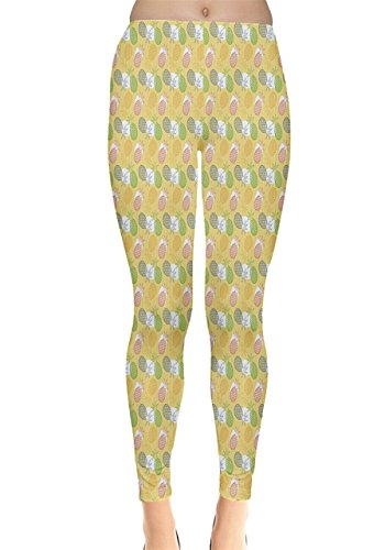 CowCow - Legging - Femme Red & Navy Yellow & Green