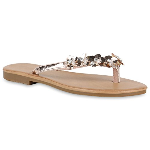 Damen Flats Sandalen Zehentrenner Metallic Strass Beach Schuhe Rose Gold Blumen