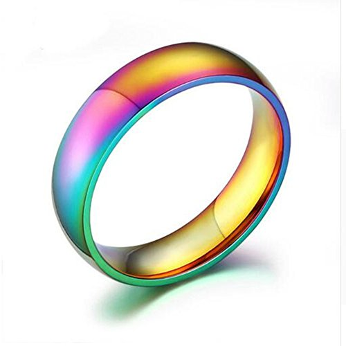 Heyrock Trendy Gold-color Women's Ring Magic Rainbow Stainless Steel Wedding Engagement Rings