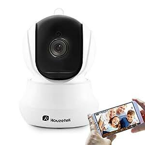 Telecamera di Sorveglianza, Houzetek 720P HD IP Camera Wifi Wireless Videocamera di Sorveglianza con Visione Notturna a Infrarossi, Audio Bidirezionale, Controllo Remoto e Email allarm, Obiettivi Ruotabile Telecamera IP Videocamera di Sicurezza e Sensore di Movimento, Microfono e Altoparlante, Rilevazione di Movimento, Registrazione su Micro SD , Compatibile con iOS /Android/Windows PC Per Casa, Camera, Porta, Giardino, Baby Monitor