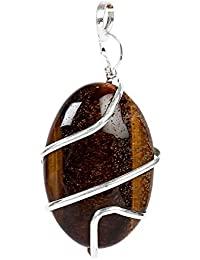 8ec8f0c50 Satyamani Natural Energized Original Tiger Eye Wire Wrapped Energy Pendant  Crystal Pendant (Pack of 1