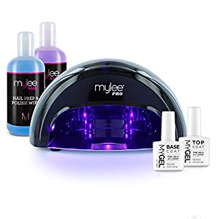 MYLEE 15 Seconds Cure Convex Curing® LED Gel Polish Nail Drying Lamp KIT, 3 Curing Cycle, Compatible With All Gel Polish, Kit incl. MYGEL Top & Base Coat, Mylee Prep + Wipe, Gel Remover (Black)