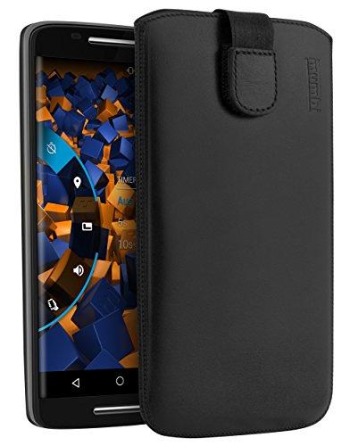 mumbi ECHT Ledertasche für Motorola Moto X Play Tasche Leder Etui (Lasche mit Rückzugfunktion Ausziehhilfe)