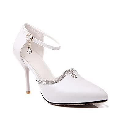 AgooLar Women's Pointed Closed Toe Buckle PU Solid Spikes Stilettos Pumps Shoes, White, 38