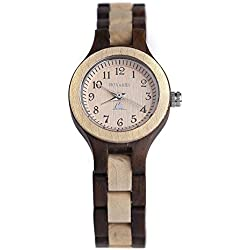 BS ® Handmade Retro Wooden Watch Japanese Quartz Movement Natural Sandalwood A Gift Idea for Men and Women BNS-120D