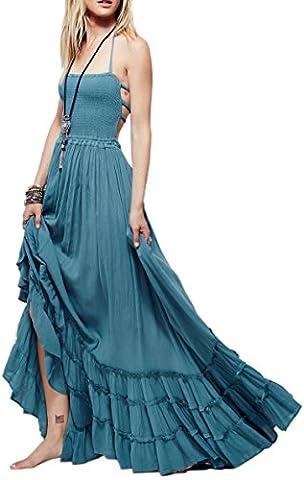 Damen Sommer Baumwolle Rückenfrei Strand Böhmen Sexy Maxi Lange Kleider S Blau (Hippie Vintage-wrap)