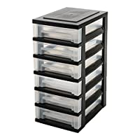 Iris Ohyama 6 Storage tower on casters-Smart Drawer Chest SDC-360-Plastic, black/clear, 42 L, 39 x 29 x 62 cm, 6 x 7 L