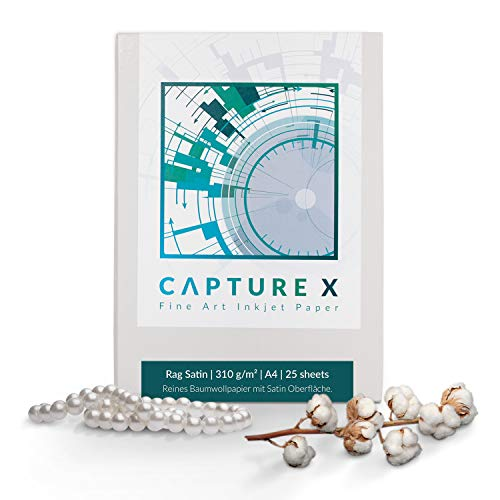 CAPTURE X Rag Satin, A4, 310g/m², 25 Blatt Box - Seidenglanz - Lichtbeständigkeit - Fine Art Paper -