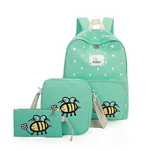3Pcs / Sets School Backpack Cute Canvas Travel Schoolbags Green L30cm W12cm H43cm