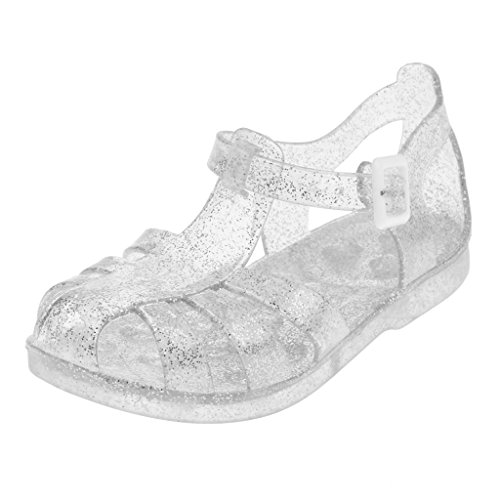 Phenovo Sequins Kids Girls Flat Shoes Jelly Beach Sandals Silver 26