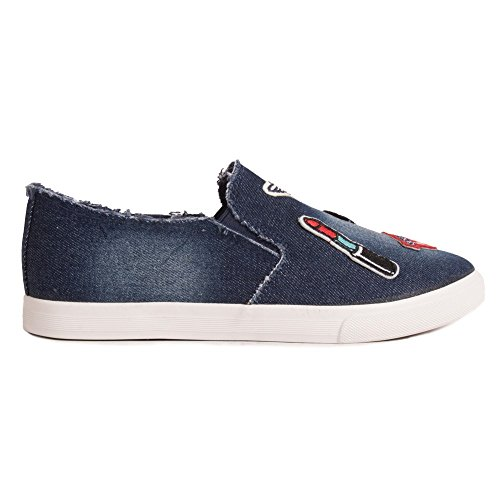 Primtex Baskets Slip On Jean Femme à Patch Rouge à Lèvre- Bleu Marine