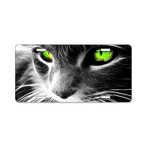 CafePress cat eyes Aluminum License Plate - Standard Multi-color