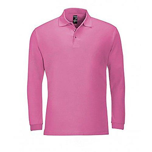 SOLS Herren Winter II Pique Langarm-Shirt / Polo-Shirt, Langarm Schokolade