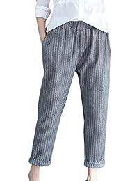 9231cce0f7a825 Hosen Damen,Frauen Modische Leichte Sommerhose Schicke Leinenhose Elegante  Stoffhose Chino Hose Lässige Luftige Lockere Hose High…