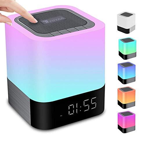 5 en 1 Haut-Parleur Bluetooth Portable sans Fil Lampe de Chevet Touch Dimmable Réveil Numérique Mains Libres MP3 Enceintes Enceintes Trois Méthodes de Musique avec Carte SD USB et Bluetooth