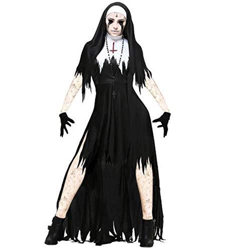 ZYH994 Halloween Kostüme Horror Nonne Vampire Set Scary Party Maxi Ghoust Phantasie Schreckliche Hexe Religion Tag Der Toten Cosplay Kostüme, S