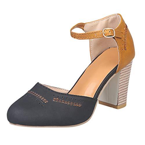 Damen Damen Sandaletten Schuh Mitte High Block Ferse Knöchelriemen Brogue Komfort Gummisohle Pumps Vintage Sandalen UK Größe 4-9 -